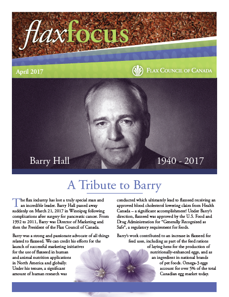Flax Focus April - Barry Hall Tribute